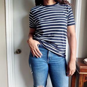 Everlane Preppy Striped Crewneck Cotton Shirt